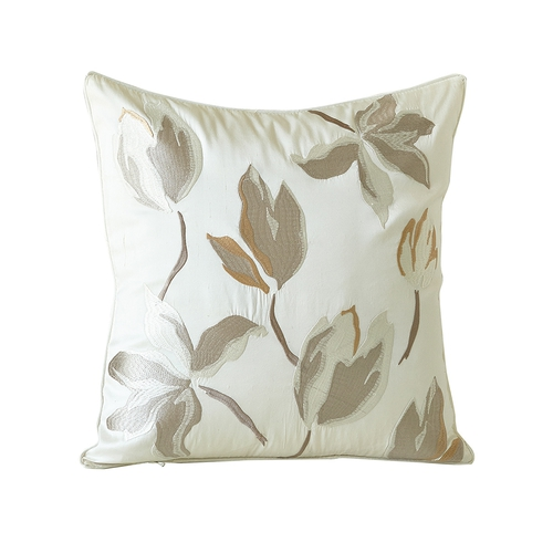 Beige Silk Pillow Cover