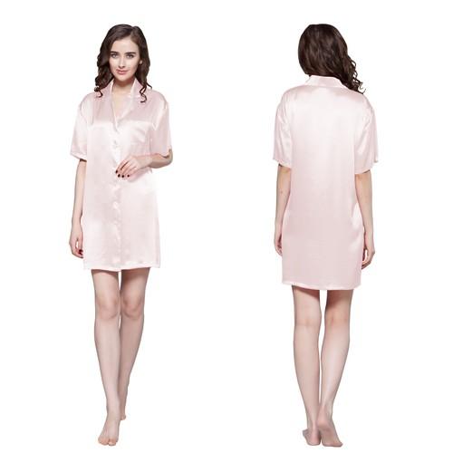 Light Pink Women Silk Nightshirt