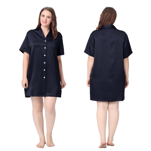 Navy Blue Plus Size Robe