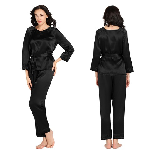 Black women silk pajamas