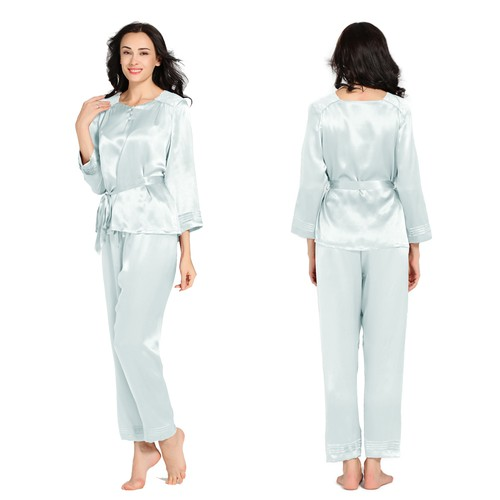 Light Sky Blue Women Silk Pajama