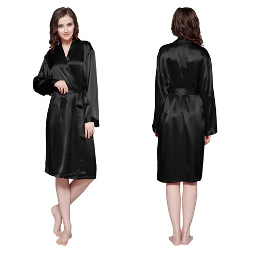 Black Women Silk Dressing Gown