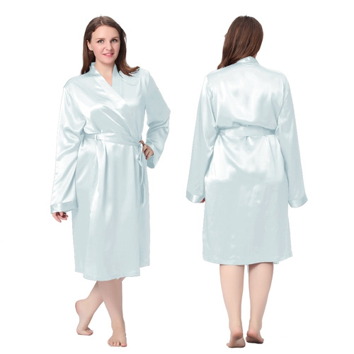 Light Sky Blue Plus Size Silk Dressing Gown