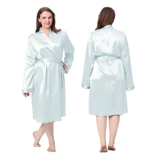 Light Sky Blue Plus Size Silk Robe