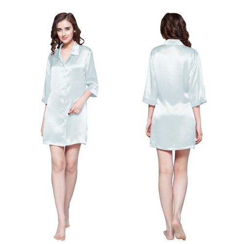 Light Sky Blue Women Silk Nightshirt