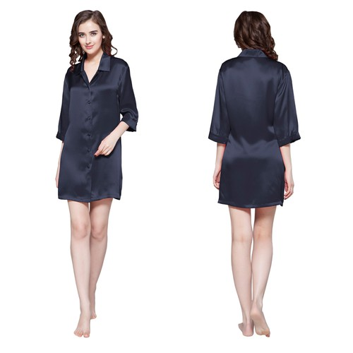 Navy Blue Women Silk Nightshirt