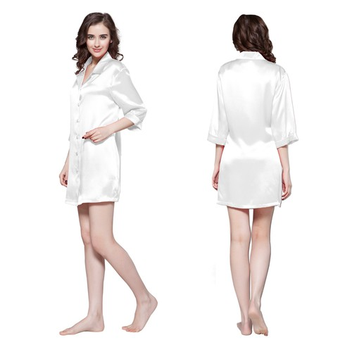 White Women Silk Nightshirt