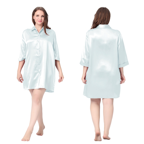 Light Sky Blue Plus Size Silk Nightgown