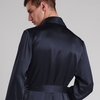 Navy Blue Men Silk Dressing Gown