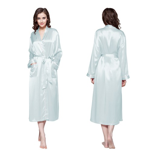 Light Sky Blue Women Silk Robe