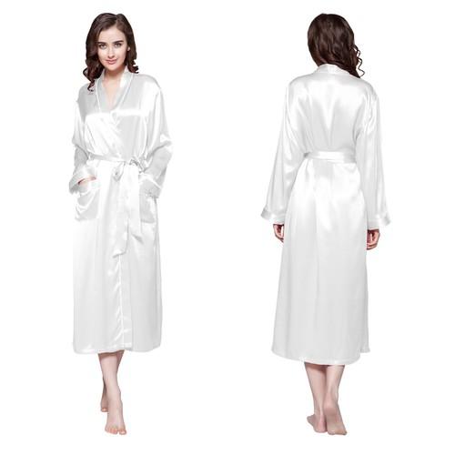 White Women Silk Robe