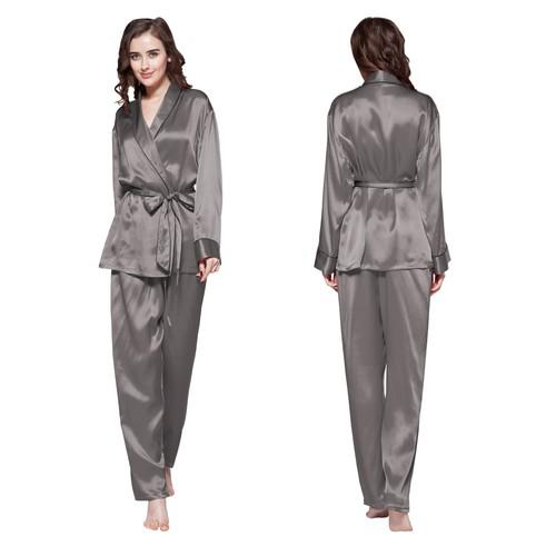 Gris Oscuro Pijama Seda Mujer
