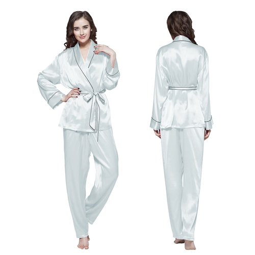 Light Sky Blue Women Silk Pyjamas