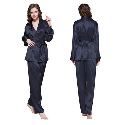 Navy Blue Women Silk Pajama