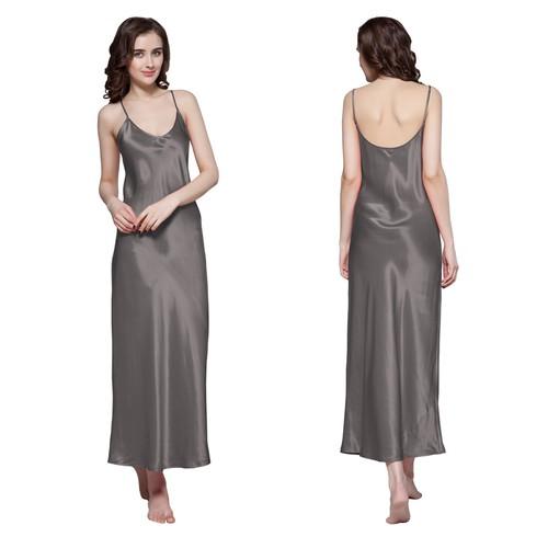 Dark Gray Women Silk Nightgown