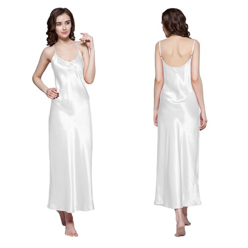 White Women Silk Nightgown