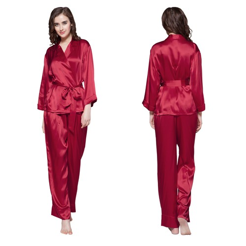 Dark Gray women silk pajamas