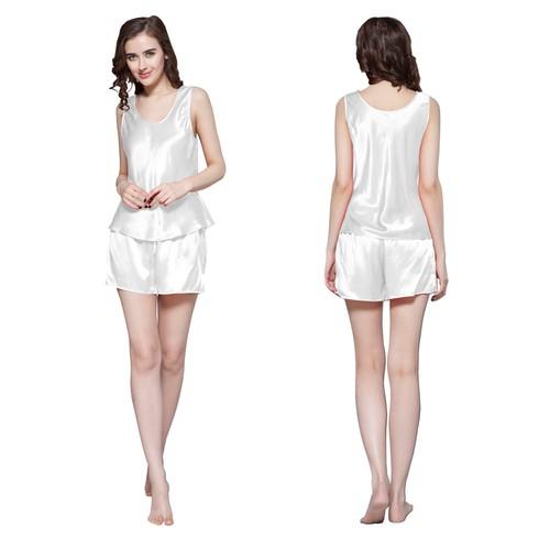 White Silk Pajamas