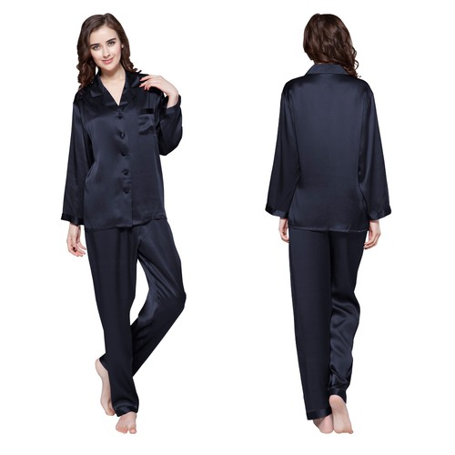 Navy Blue Women Silk Pyjamas