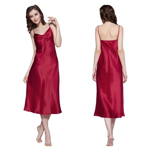 Claret Women Silk Nightgown