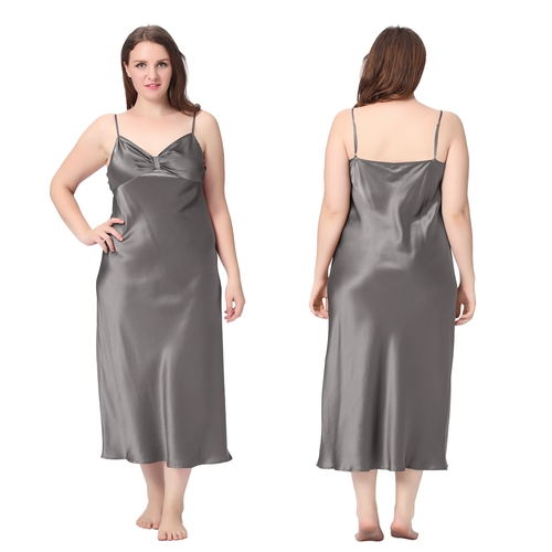Dark Gray Plus Size Silk Nightgown