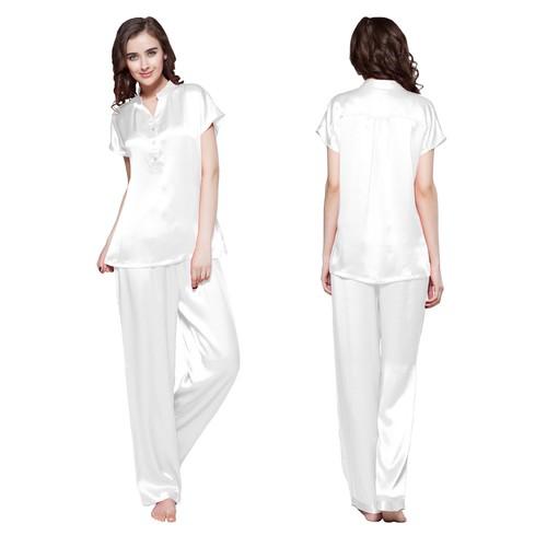 Blanco Pijama Seda Mujer