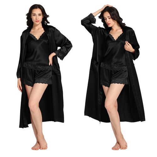 22 Momme Lace Silk Camisole Amp Robe Set