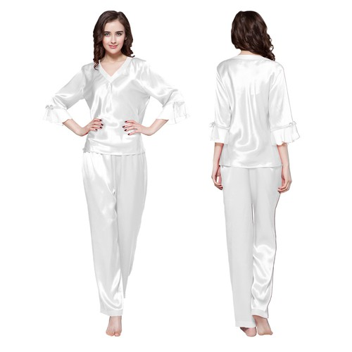 500 white 22 momme laced silk pyjamas set