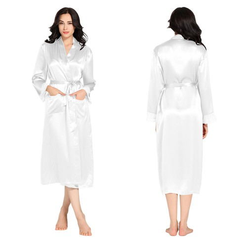 White Women Silk Robe