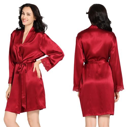 Claret Women Silk Robe