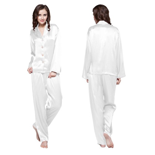 White women silk pajamas