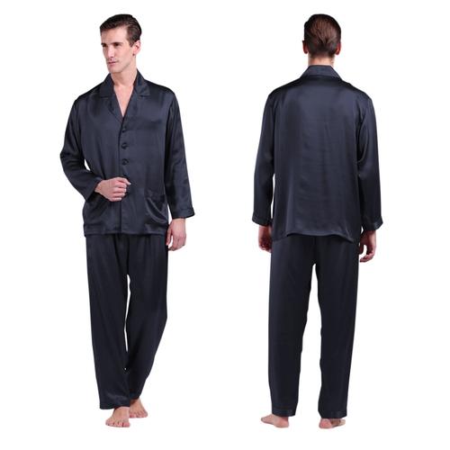 Azul Marino Pijama Seda Hombre