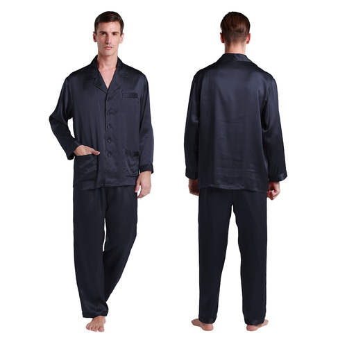 Navy Blue Men Silk Pajamas