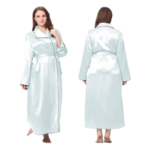 Light Sky Blue Plus Size Silk Robe