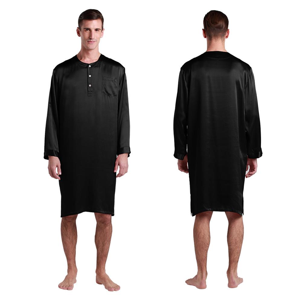 22 momme mens silk nightshirt. Black Bedroom Furniture Sets. Home Design Ideas
