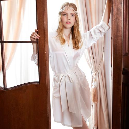 Beige Women Silk Robe