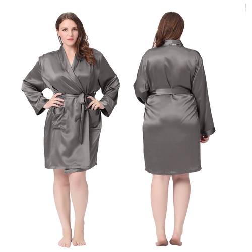 Dark Gray Plus Size Silk Robe