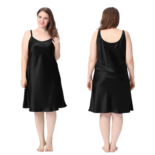 Black Plus Size Silk Nightgown