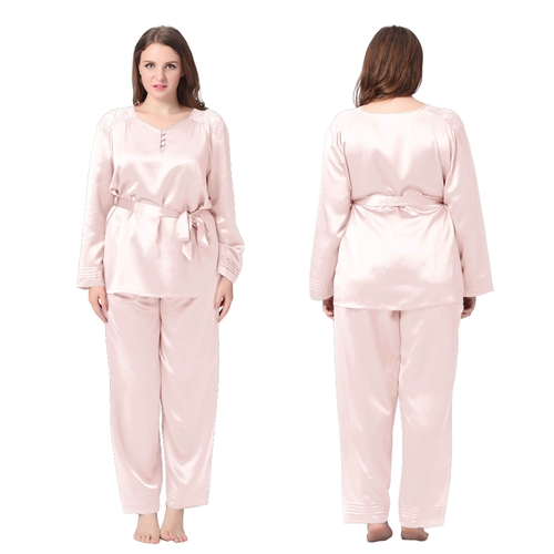 Light Pink Plus Size Silk Pajamas