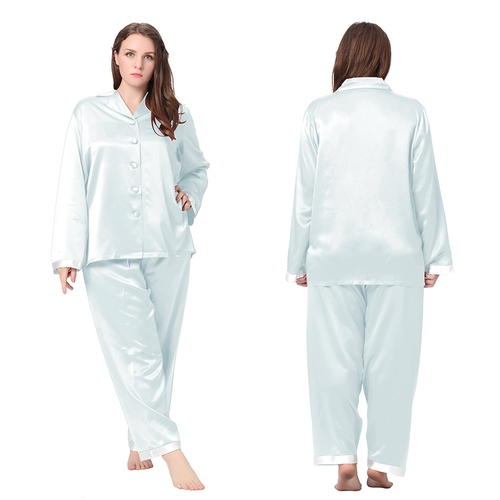 Light Sky Blue Plus Size Silk Pajama