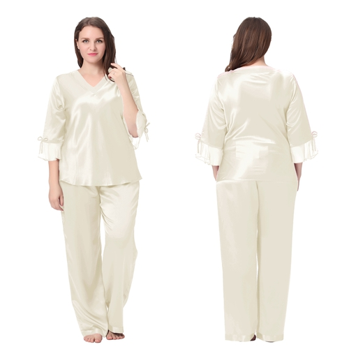 Beige Plus Size Silk Pajamas