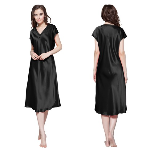 Black Women Silk Nightgown