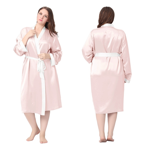 Light Pink Plus Size Silk Robe