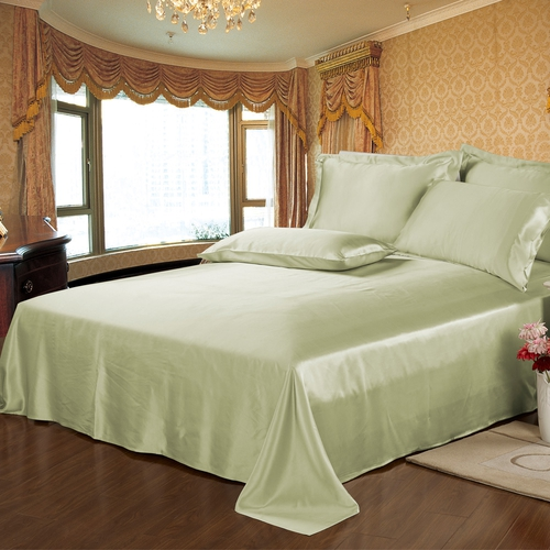 Soft Green Silk Flat Sheets