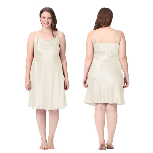Beige Plus Size Silk Nightgown