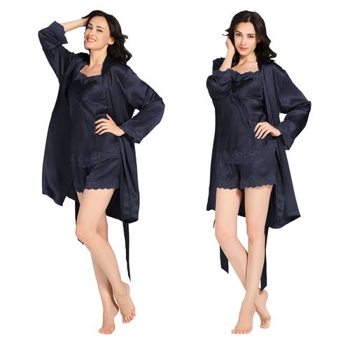 Navy Blue تنورة النوم من الحرير