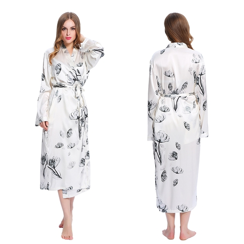 Lotus White Women Silk Dressing Gown