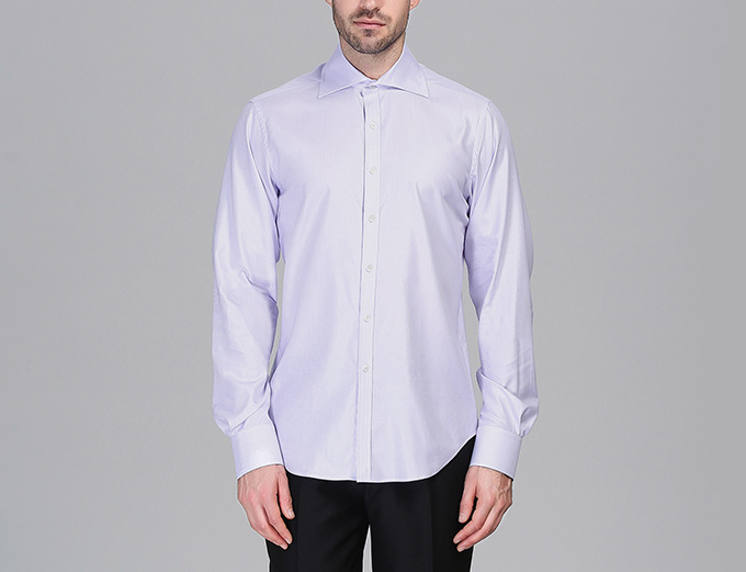 Silk Cotton Blend Dress Shirts White Light Purple