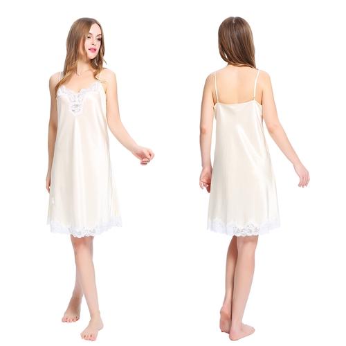 Beige women silk nightdress