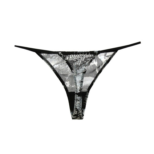 Brown with white flower patterns Silk Thong